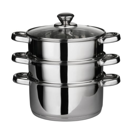Premier-Housewares-Cuiseur-vapeur-Couvercle-verre-Fond-encapsul-Inox-3-tages-22-cm-x-25-cm-0