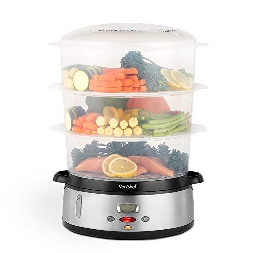 VonShef-Cuiseur–vapeur-3-tages-800-W–Cuiseur–vapeur-lectrique–affichage-numrique–Plastique-sans-BPA–Bol–riz-inclus–Pour-cuisson-saine-des-viandes-poissons-et-lgumes-0